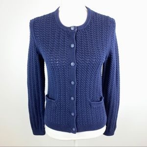 Boden Cable Knit Navy Blue Cotton Cardigan 8